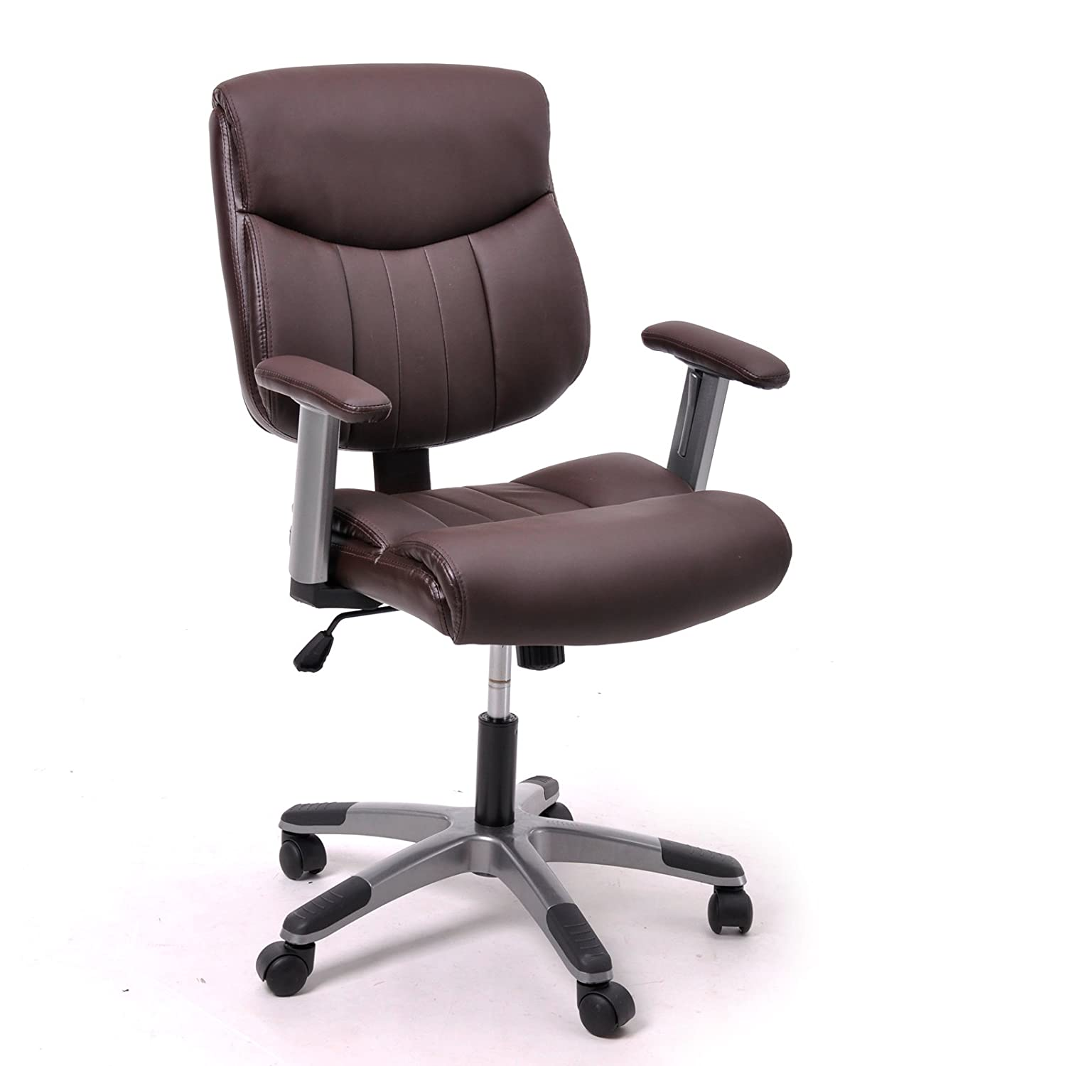 cheerwing brown pu leather task chair office computer desk tilt chair with arms tilting function best desk for home office
