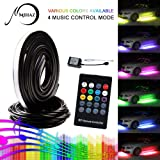 Led Car Light Underglow Kit, 4 pcs Mihaz High Intensity Atmosphere Lights for Car Leds Glow RGB Colors Auto Neon Tube Light Strip Under Car Wireless Remote Control Sound Active Function(90-120cm)