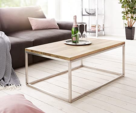 Wohnzimmertisch Tatius Sheesham Natur 100x57 Gestell Edelstahl Industrial Style
