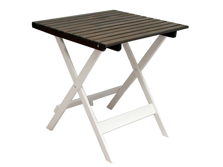 GARDENho.me Nordische Gartenmöbel Massivholz Balkontisch LOTTA Tisch Gartentisch Klapptisch Weiß/Taupegrau