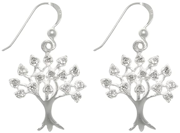 Jewelry Trends Sterling Silver Cubic Zirconia Sparkling Tree of Life Dangle Earrings