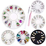 6 Wheels 108 Pieces Nail Art Rhinestones Kit - Colorful AB Iridescent 3D Crystal Gems Nail Diamonds Large Drop Rhinestones with Tweezers and Brush for Nail Art Supplies Accessories