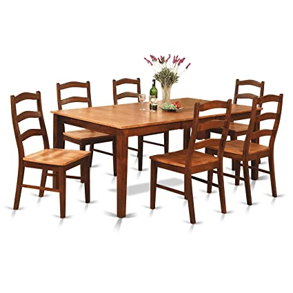 East West Furniture HENL9-BRN-W 9-Piece Dining Table Set