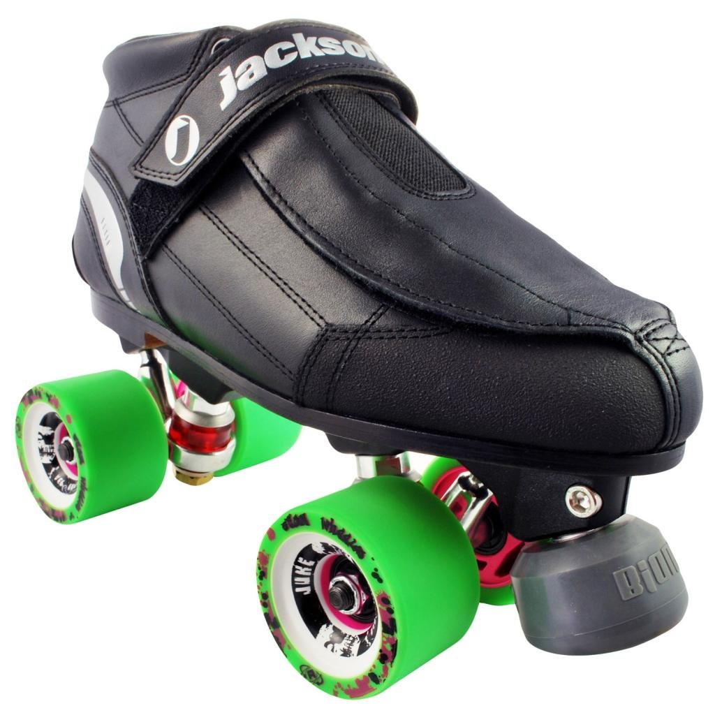 Jackson Elite Falcon Juke Roller Derby Skates - Jackson Quad Derby Skates roller skates white with green led lighting wheels double line skates adult 4 wheels two line roller skating shoes patines