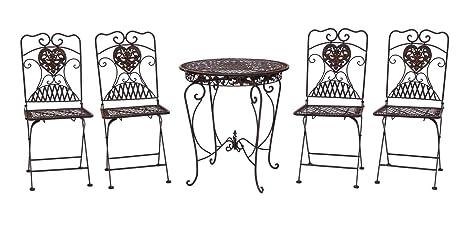 Gartentisch und 4 Stuhle Eisen Bistromöbel Antik-Stil Tisch Gartenmöbel braun