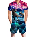 Uideazone Men's 3D Dinosaur Print Shorts Jumpsuit Pants Summer Casual Romper Overalls (Color: Dinosaur, Tamaño: Small)