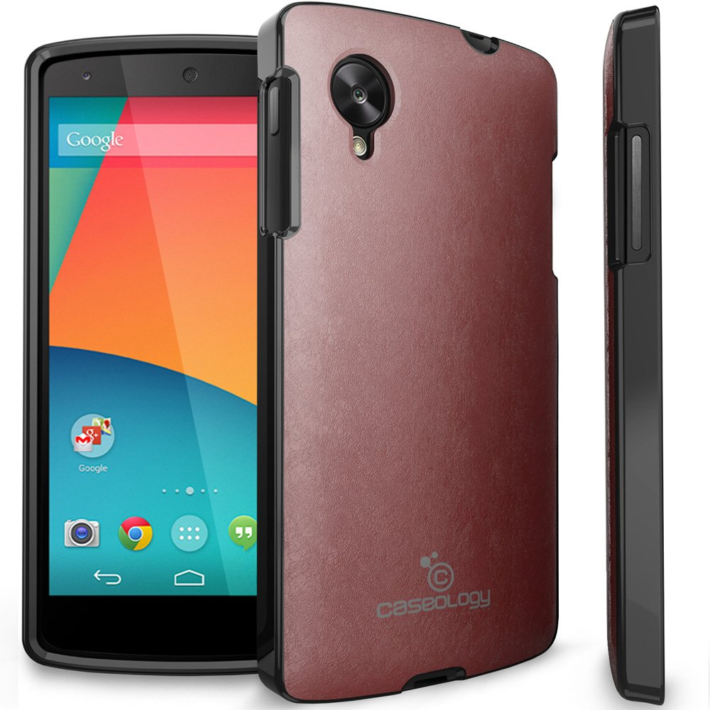 Caseology Slim Fit Premium Matte PU Leather Hybrid TPU Case for LG Google Nexus 5 (Burgundy Red)