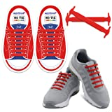HOMAR Reflective No Tie Kids Shoe Laces - Best in Alternative Shoelaces - Safty Dirtproof Waterproof Rubber Shoelaces Perfect Sneaker Boots Oxford Running Shoes - Red