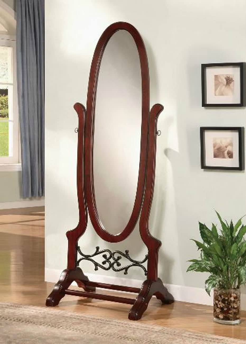 Wildon Home Cherry Full Length Standing Seatac Cheval Floor Mirror - This Oval Floor Mirror Is in Beautiful Contemporary Style and Is the Perfect Addition to Your Bedroom, Living Room, Family Room, Office or Any Other Room in You Home 0
