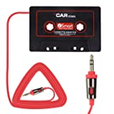 Eleshroom Universal Car Audio Travel Cassette Adapter, 3.5mm AUX Audio Music Cassette Tape Player Adapter MP3 Player Converter for iPhone, iPod, iPad, Android Phones, MP3 Players (Black Red)