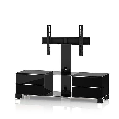 Sonorous MD 8540-C-HBLK-BLK Fernseher-Möbel mit Klarglas (Aluminium Hochglanz/Korpus Hochglanzdekor) schwarz