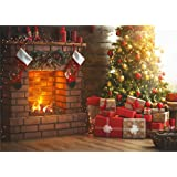 Christmas Theme Tree Stove Sock Fireplace Gift Blanket Photograhy Background Santa Reindeer Garland Christmas Ball Xmas Party Backdrop (Color: GYA-xmas010-7x5FT, Tamaño: 7x5FT (width 210cm x Height 150cm))