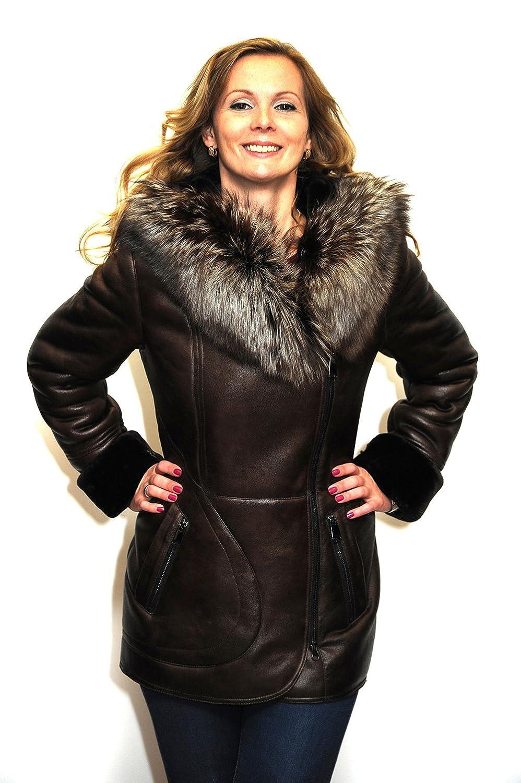 Damen Winter Mantel Jacke Silberfuchs Pelzkragen Pelzjacke Pelzmantel