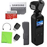 DJI Osmo Pocket Handheld 3 Axis Gimbal Stabilizer with Integrated Camera, Attachable to Smartphone, Android (USB-C), iPhone with Bonus MicroSD Memory Card