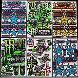 6 BLATT AUFKLEBER VINYL KB/ MOTOCROSS STICKERS BMX BIKE PRE CUT STICKER BOMB PACK METAL ROCKSTAR ENERGY SCOOTER