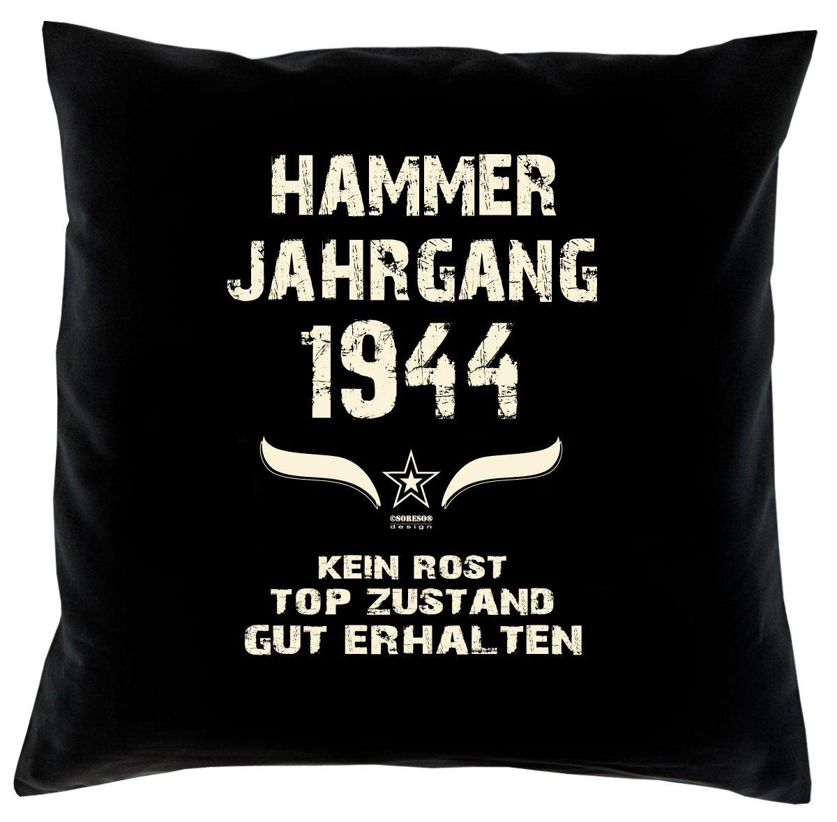 Cooles – Fun – Kissen – Sitzkissen – Zum 72. Geburtstag – Hammer Jahrgang 1944 Farbe: Schwarz – Größe: 40 x 40 cm günstig kaufen