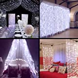 Curtain Lights - SurLight 9.8ft*9.8ft 306LEDs Window Icicle Lights with 8 Lighting Modes, Christmas LED String Fairy Lights for Christmas Wedding Valentine's Day Holiday Garden Patio, Cool White (Color: Cool White, Tamaño: 3M*3M)