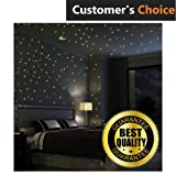 Premium Glow In The Dark Stars Wall Stickers, 100 Glowing Stars And Moon – Perfect Glow Stars for Kids' Rooms, Ceiling Decorations, Romantic Rooms (Color: Green)
