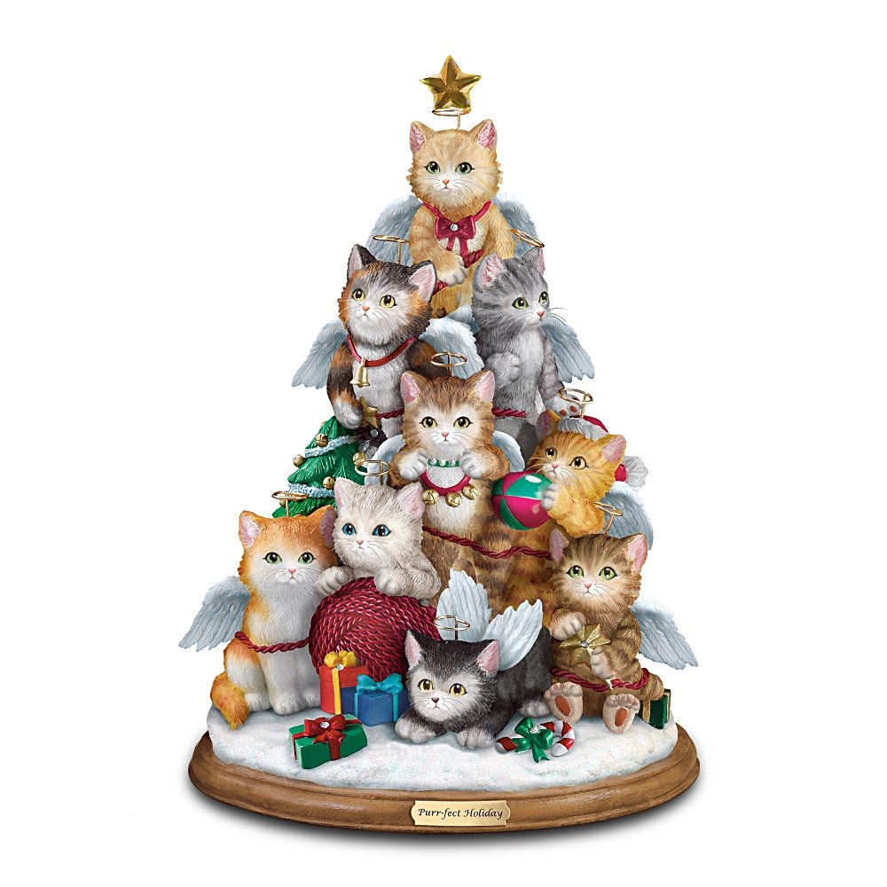 Cat Lovers Tabletop Christmas Decoration: Purr-fect Holiday Tree by The Bradford Exchange