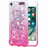Flocute iPod Touch 5 6 7 Case, iPod Touch 5 6 7 Glitter Case Gradient Bling Sparkle Floating Liquid Soft TPU Cushion Luxury Fashion Girls Women Cute Case for iPod Touch 5th 6th 7th (Gradient Pink) (Color: Gradient Pink)