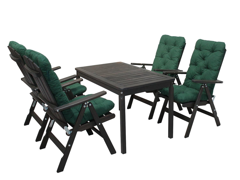 Ambientehome 90544 Gartengarnitur Gartenset Sitzgruppe verstellbare Klappstühle Stranda taupe grau braun inkl. grüne Kissen und Tisch Evje 120x70 cm 9-teiliges Set