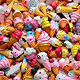 30 Pack Cute Candy Slime Beads Fruit Dessert Ice Cream Resin Charms Slices Flatback Buttons for Handcraft Accessories Scrapbooking Phone Case Decor (Ice Cream) (Color: Ice Cream, Tamaño: 10mm-25mm/0.39inch-1inch)