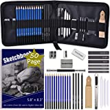ARTOSA Drawing Pencils with Sketch Book 50 Pages, 33 Piece Sketch Pencils Professional Drawing Kit in Zipper Case, Sketching Art Set with Graphite Charcoal Sticks Tool for Adults Kids(All in One Case) (Color: Black)