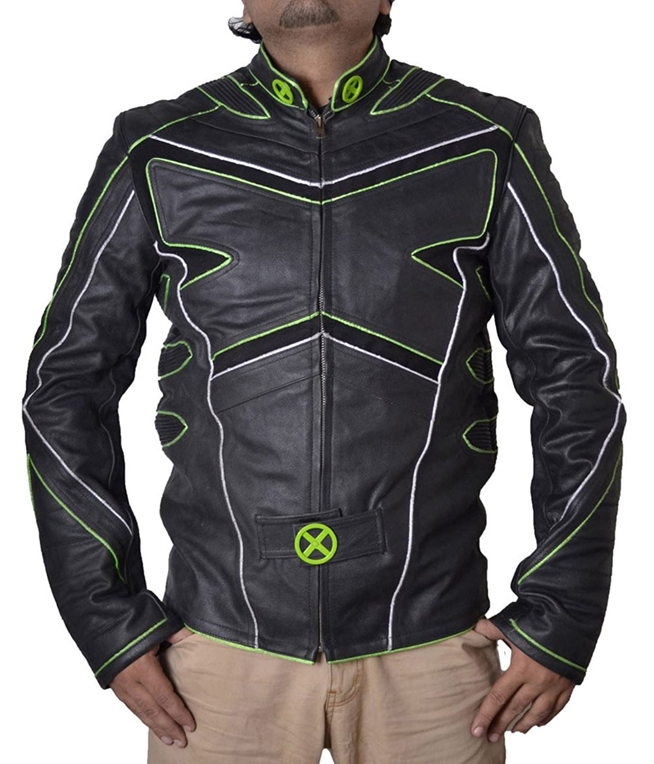 Xmen Wolverine Huge Jackman X Faux Leather Jacket with Green Pipen