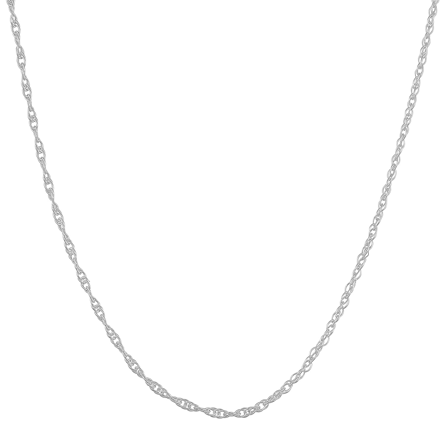 Sterling Silver 1.1mm Rope Chain (14, 16, 18, 20, 22, 24 or 30 inch in white, yellow or rose)