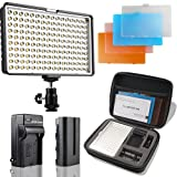 LED Video Light, SAMTIAN 160 LED Camera Light for Canon, Nikon, Pentax, Olympus and Other Digital SLR Cameras/Camcorders , 950LM, 85 CRI+, Including Four Color Filters, Battery, Charger, Carry Case