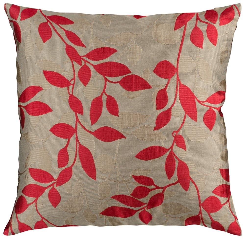 Surya HH-058 Hand Crafted 88% Polyester / 12% Polyamide Red 18 x 18 Floral Decorative Pillow