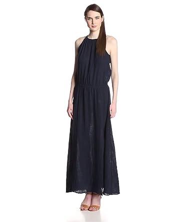 Michael Stars Women's Double Gauze Halter Slit Maxi Dress, Ship, X-Small