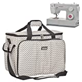HOMEST Sewing Machine Carrying Case with Multiple Storage Pockets, Universal Tote Bag with Shoulder Strap Compatible with Most Standard Singer, Brother, Janome (Ripple) (Color: Ripple)
