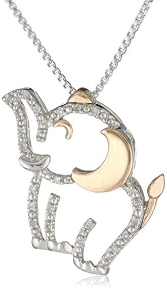 XPY Sterling Silver and 14k Rose Gold Diamond Elephant Pendant Necklace, 18″ $89.00
