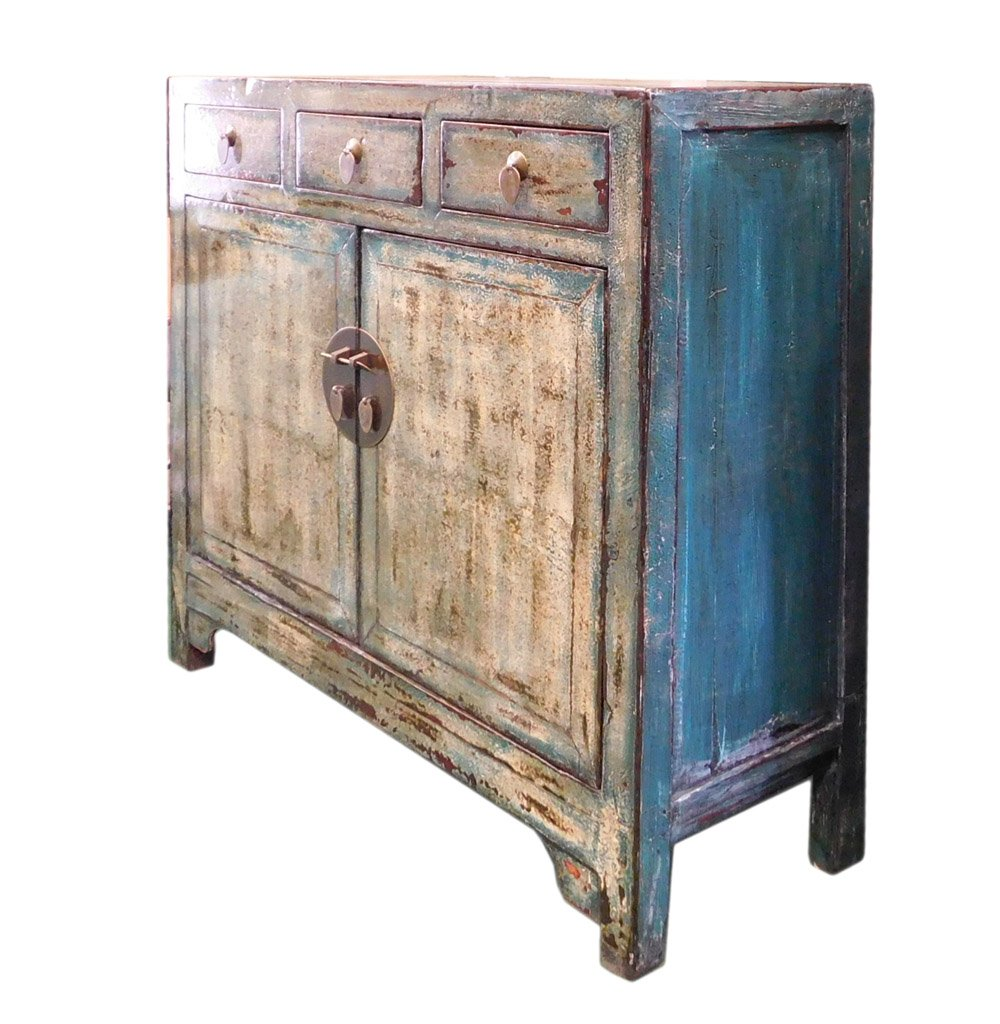Chinese Distressed Blue Side Tall Credenza Table Cabinet Acs1695 5
