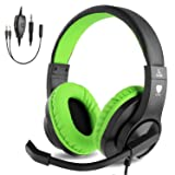 BlueFire 3.5mm Bass Stereo Over-Ear Gaming Headphone PS4 Gaming Headset with Microphone and Volume Control Compatible with PS4, New Xbox One, Xbox One S, Xbox One X, PC(Green) (Color: Green)