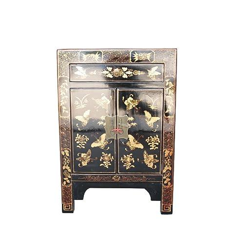 Comodino cinese mobili piccola comodino con cassetto nero dipinto a mano farfalle orientale asiatico soggiorno camera da letto Decor interior armadi comodini