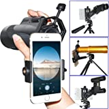 Megadream Cellphone Telescope Adapter Mount, Compatible with Binocular Monocular Spotting Scope Microscope for Universal iPhone X 8 Plus 8 7 Samsung Galaxy S8 Edge S7 Note LG HTC Sony -3.5 inch Width (Color: Black)