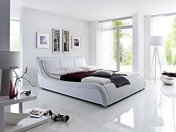 Dreams4Home Polsterbett mit Kunstlederbezug 'Roma' 160x200 o. 180x200 cm, Weiß, Liegefläche:180x200 cm