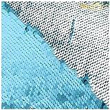 Reversable Sequin Fabric 5mm Mermaid Shiny Flip Sequins Reversible Sequin Fabric Material for Sewing 9 Feet 3 Yards Aqua to Silver -1019S (Color: Aqua to Silver, Tamaño: 3 Yards)