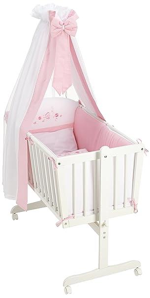 Easy Baby 882–29culla completa con rotelle, inclusi biancheria, materasso e supporto per baldacchino, design Flower quadretti, rosa/bianco