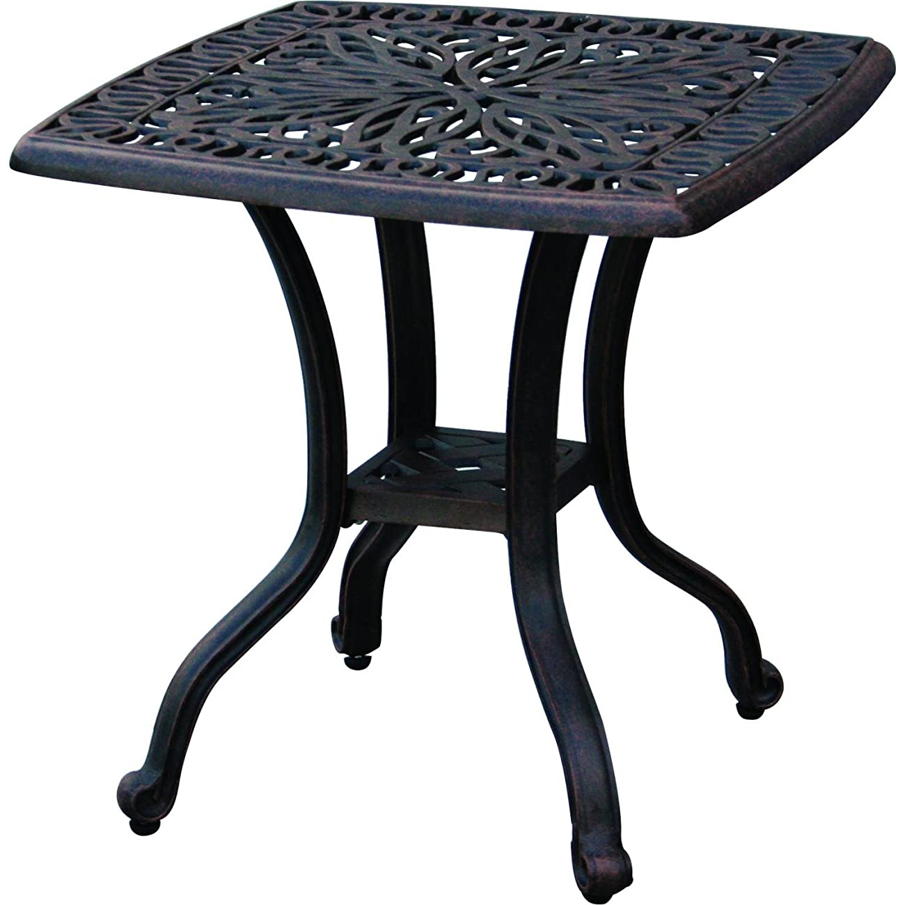 Darlee Elisabeth Cast Aluminum Outdoor Patio End Table - 21 Inch Square - Antique Bronze 0