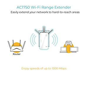 D-Link AC1750 Wi-Fi Range Extender with Dual Band Gigabit WiFi Booster Wireless Repeater and Smart Signal Indicator (DAP-1720) (Color: White)