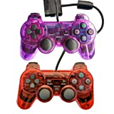Saloke Wired Gaming Controller for Ps2 Double Shock (Clear Purple and Clear Red)