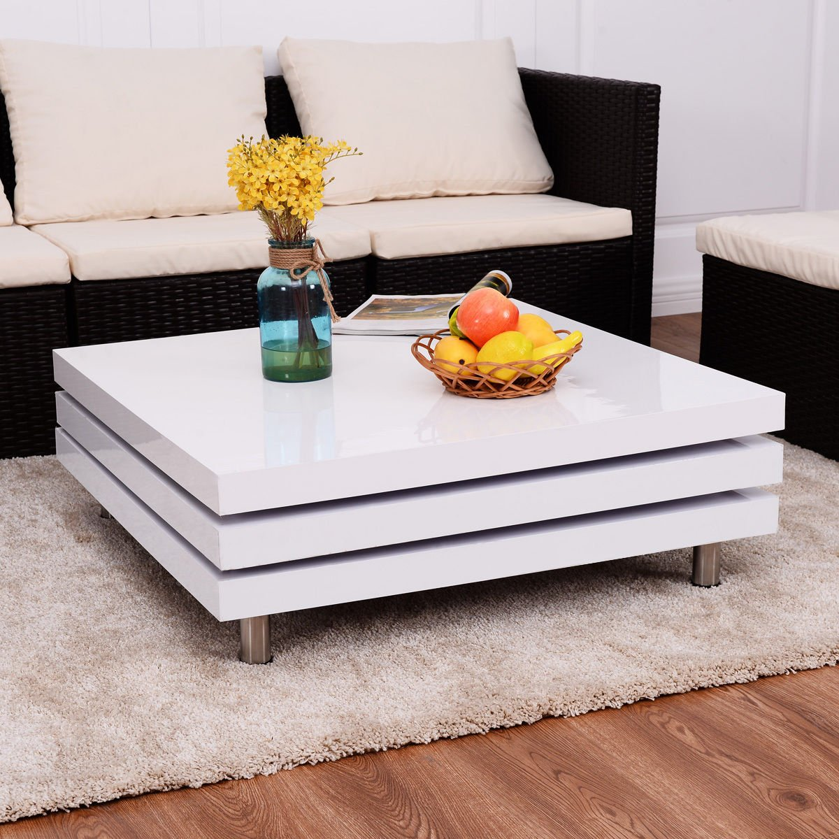 New MTN-G Square Rotating Coffee Table w/3 Layers 360 Degree Swivel Living Room Furniture