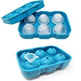 Jalousie Silicone Ice Cube Trays with lids square cube trays and round ball sphere Ice Molds (Two-Pack Round) (Color: Two-Pack Round)
