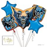 Andaz Press Balloon Bouquet Party Kit with Gold Cards & Gifts Sign, Batman Birthday Foil Mylar Balloon Decorations, 1-Set (Color: Batman)