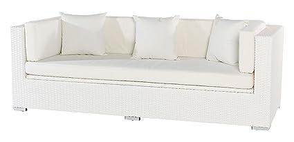 OUTFLEXX 3-Sitzer Sofa aus widerstandsfähigem Polyrattan in weiß mit Kissenboxfunktion inkl. Kissen-Polster, 210 x 85 x 70 cm, Lounge Sofa Gartencouch fur 3 Personen, wetterfest, stabil, rostfrei