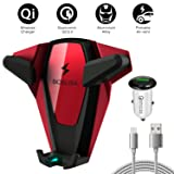 BOSLISA Wireless Car Charger X-Man, Wireless Fast Charger Car Mount iPhone X/Xs/Xr Samsung Note 9/8/7 (Red)