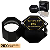 20x Magnifier Jewelry Loupe Triplet Lens 20.5mm Optical Glass Pocket Gem Magnifying Tool for Jeweler, Stamp Philatelist, Coin Numismatic, Achromatic Black Hexagonal Design Kit Set (Color: 20x Magnification Power)